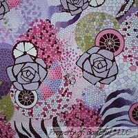 BonEful Fabric FQ Cotton Quilt White Pink Purple Brown Rose Flower Retro Hippie