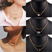 2 Layer Fashion Crystal Opal Natural Stone Pendant Necklace Collar Jewelry Gift