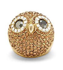 Fossil Brand Gold Tone PARTY ANIMALS GLITZ Owl Dome Ring $68 Sz 7 NEW