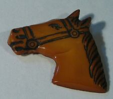 Vintage Art Deco 30s Bakelite or Celluloid ? Butterscotch Horse Head Pin Brooch