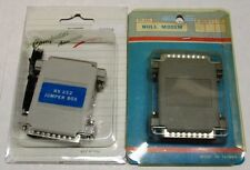 SET OF 2 HARD TO FIND RS232 25 PIN ADAPTERS: NULL MODEM & JUMPER BOX - NEW!