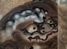 MAGNIFICENT ANTIQUE KANO FOLDING SCREEN 1700 Chikanobu Edo Shishi Byobu Japanese