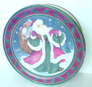 """Old World Santa Claus Victorian Round Tin  Can Box Container 9 3/4""""  Vintage"""