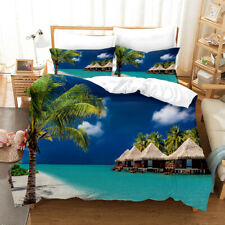 3D Beautiful Tropical Sea Duvet Cover Queen Bedding Comforter Cover PillowCase