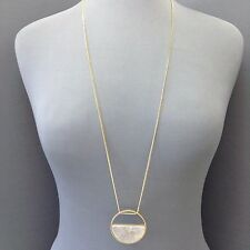 Long Boho Antique Gold Chain Unique Gold Silver Circle Shape Pendant Necklace