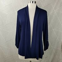 Chicos Travels Size 2 Large Jacket Cardigan Top Slinky Knit Stretch Flounce Blue