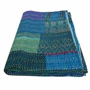 Indien Handmade Patchwork Kantha Quilt Reversible Bedspread Queen/Double silk