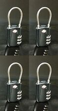 4 Pack Special TSA Travel Luggage Lock Combination 3 Dial Black Flexible Shackle