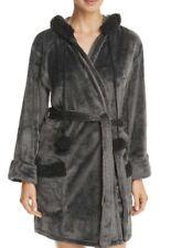 PJ Salvage Women's Cozy Hooded Robe Black Pom pom XS new