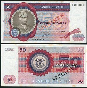 Congo Zaire 50 zaires 1980.02.04. Mobutu P25s Specimen UNC with Spots