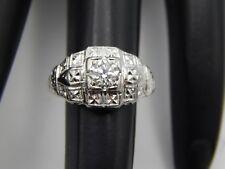 European Cut Diamond Engagement Ring .50 ctw G/VVS Quality ART DECO 14k Estate