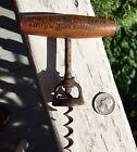 """Rare Antique Corkscrew Advertising """"Saratoga Motoria"""" On Wood Handle Look!"""
