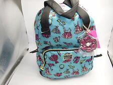 NWT BETSEY JOHNSON Large Teal Multi Nylon Backpack Flower Bag Charm $108