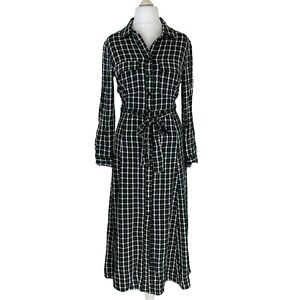 Zara Woman, Green Tartan Plaid Design Long Shirt Dress. Size Small. EXC CON.