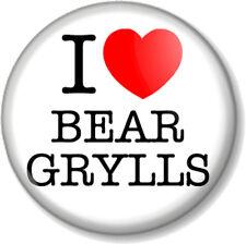 I Love / Heart BEAR GRYLLS 25mm Pin Button Badge Adventurer Chief Scout Survivor