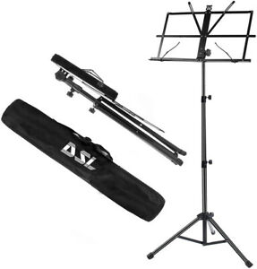 DSL Sheet Music Book Stand +Carrying Bag Portable Folding Metal Stand Adjustable