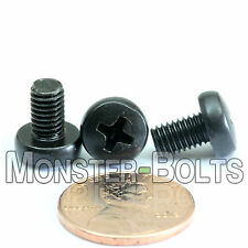 M5 x 8mm - Qty 10 - Phillips Pan Head Machine Screws - DIN 7985 A - Black Steel