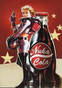 Fallout Inspired Nuka Cola Metal Poster Large-Gaming Bedroom Decor - Pin up Girl