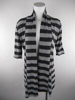 Pretty Good Women's sz L Gray Open Striped 3/4 Sleeve Duster Cardigan Sweater