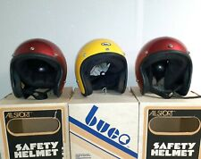 (3) Vintage ALL SPORT BUCO Motorcycle Helmet Open Face Candy Red Yellow Small