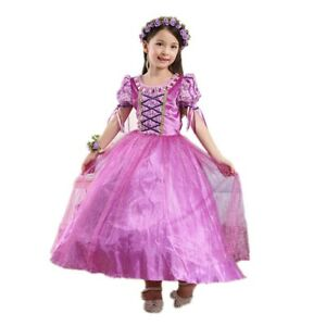 Princess Rapunzel Costume Party Dress Ball Gown Birthday For Girls  3-10T