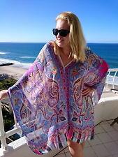 Plus Size Silk Kaftan Top Beach Coverup Paisley Stylish Resort Cruise Wear 90 Cm 195 Blue