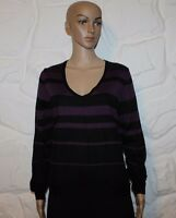 Black & Purple Knitted M & S WOMAN Long Sleeve Top Sweater Jumper Size 14 / 42