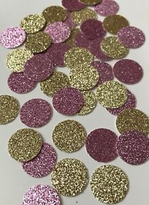 "Gold And Pink Glitter Confetti (1"")"