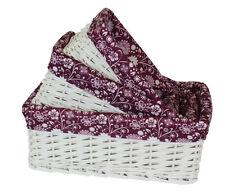 S/3 Storage Basket Willow Wicker Shallow Designer Purple Inner Kitchen Organiser