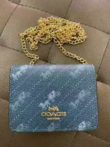 Coach Mini Wallet on A Chain Cream with Horse And Carriage Blue Crossbody
