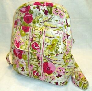 """""""VERA BRADLEY 100% COTTON, QUILTED PINK/WHITE MINI BACKPACK"""", Flowers"""