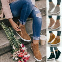 Solid Women Toe Side Zip Ankle Boots High Wedge Heel Platform Casual Shoes Size