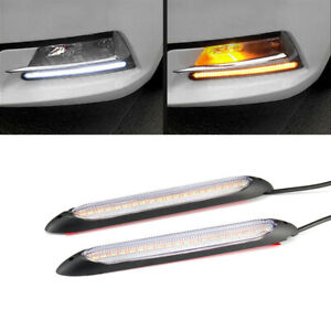 "2x 6"" DRL LED Headlight Strip Light Daytime Running Turn Signal Lamp Accessories"
