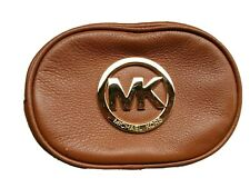 NEW-MICHAEL KORS FULTON LEATHER+GOLD TONE TRAVEL POUCH,COSMETIC BAG