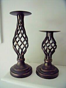 "NEW Set 2 Bronze BLACK METAL Pillar CANDLEHOLDERS 11 1/4"" & 8 1/4"" Twist Lattice"