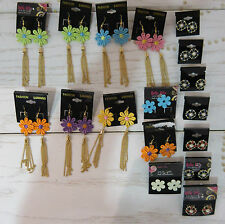 Wholesale Lot Bulk 17 Pair Earrings Lace Dangle Hook Post Mixed Styles NWT W17