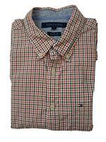 Tommy Hilfiger Button Down LS Shirt White Orange & Green Check Size Medium M