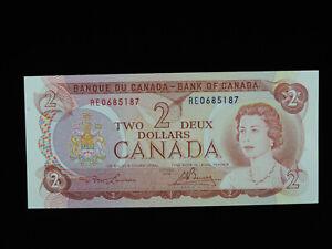1974 $2 Bank of Canada Banknote RE 0685187 Lawson Bouey AU-UNC Grade Bill