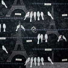 BonEful Fabric FQ Cotton Quilt Black White Gray Flower Eiffel Tower Paris French