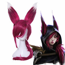 League of Legends LOL Xayah The Rebel Wine Red Cosplay Wigs with Pony Tails