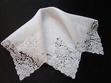 Vintage White Wedding Chemical Lace Hankie