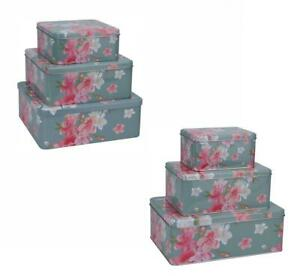 Set of 3 Floral Metal Cake Storage Tin Gift Box