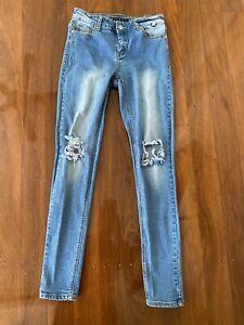 REFUGE DENIM JEANS Distressed Skinny Jeans Size 10 Ladies