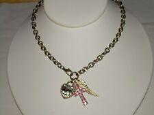 Goldtone Heavy Link Chain Necklace w/Italian Pepper,Cross w/Rhinetones & Heart