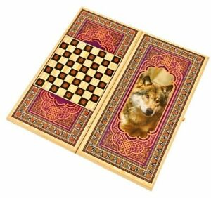 """24"""" Large Classic Backgammon Set -Wooden Folding Case + CHECKERS -""""WOLF"""" - !NEW!"""