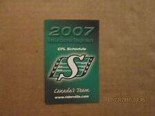CFL Saskatchewan Roughriders Vintage Circa 2007 Logo Football Pocket Schedule