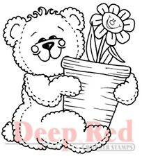 Deep Red Cling Rubber Stamp Rubber Stamp Teddy Bear with Flower