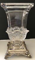 "Estate Style Pressed Glass Vase on Ornate Silver Plate Base  11"""
