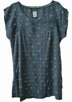 NEW EX WHITE STUFF GREEN TEAL PRINTED PART JERSEY BLOUSE TOP UK SIZE 8 10 12