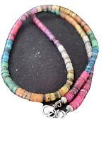 "SHELL Native American Natural Navajo Sterling Silver Multicolor Necklace 24"" 801"